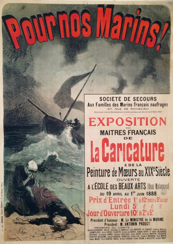 Poster showing tragic scene of drowned man swept to shore with a mourner above him and a sailing ship fighting the winds in the distance