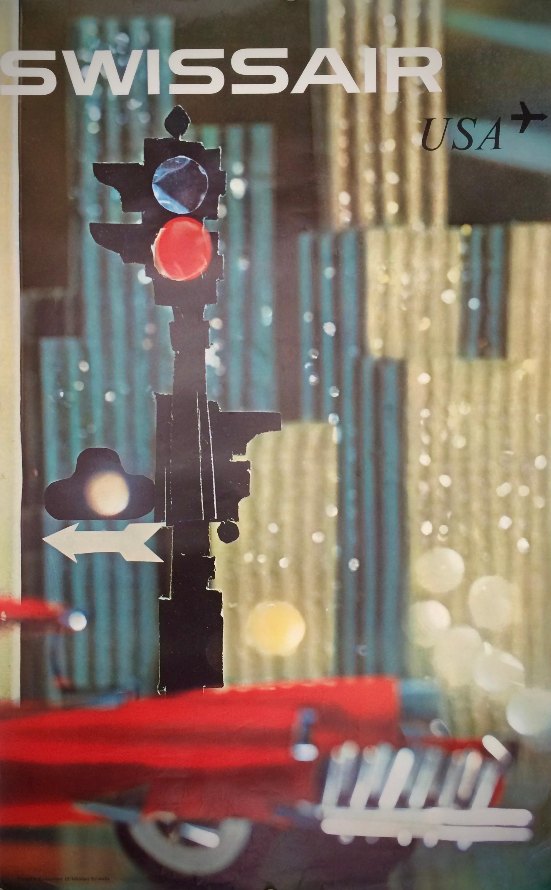 Street scene modernist design traffic lights skyscrapers