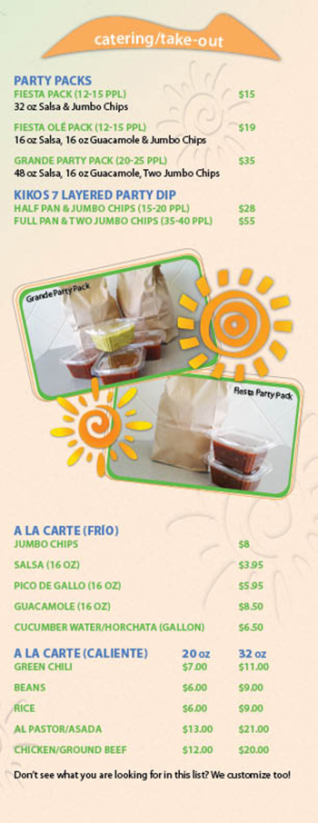 Kikos Authentic Mexican, Brighton Colorado, catering and take-out menu