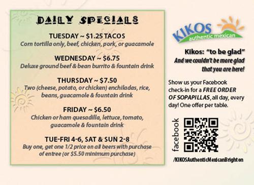Kikos Authentic Mexican, Brighton Colorado, daily specials