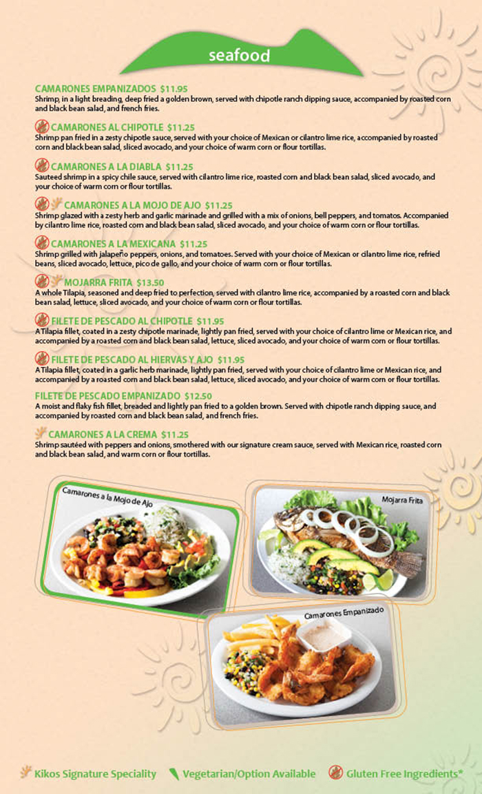 Kikos Authentic Mexican, Brighton Colorado, offers a great selection of delicious seafood entrees