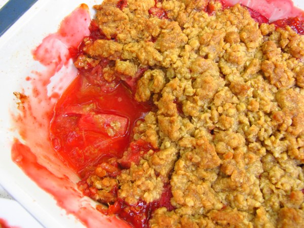 Ruby Red Rhubarb and Strawberry Crumble, Kiku Corner 6