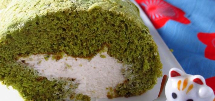 Matcha Swiss Roll Birthday Cake