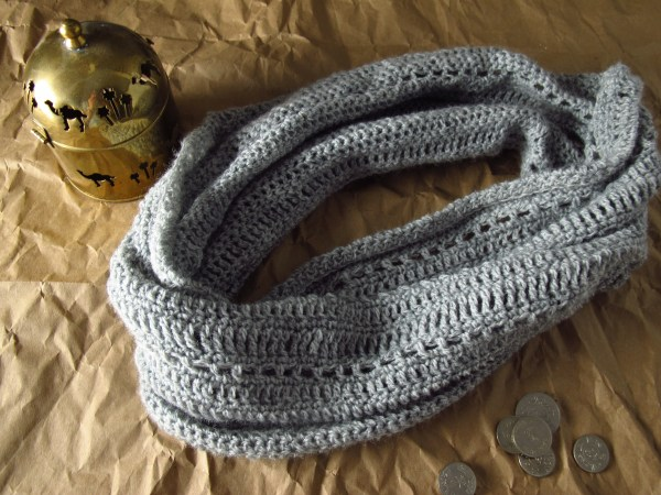 DIY: Lacy Grey Crocheted Cowl and Free Pattern, Kiku Corner