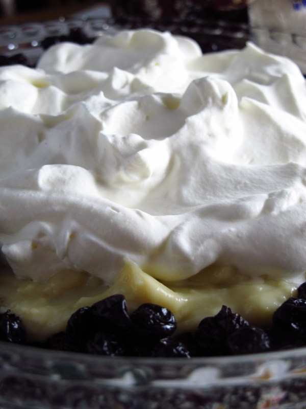Vanilla Trifle with Blueberries and Chocolate Cake