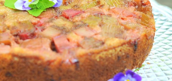 Almond Rhubarb Upside-Down Cake