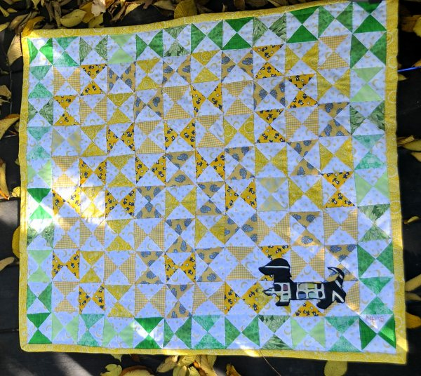 Hourglass Baby Quilt with Appliequed Dachshund