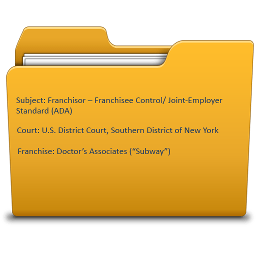 Franchisor – Franchisee Control/ Joint-Employer Standard (ADA)