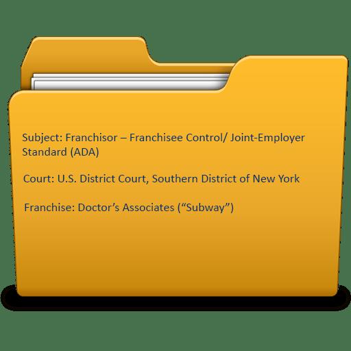 Franchisor – Franchisee Control/ Joint-Employer Standard (ADA)