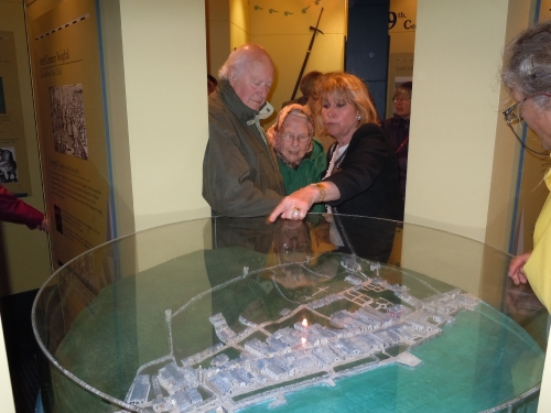 Sheila Loughnane pointing out various aspects of Youghal to members Mary Shackleton, Andrew Ogden & Mary Kirby.