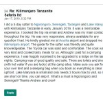 Said Review on Kilimanjaro Tanzanite Safaris LTD