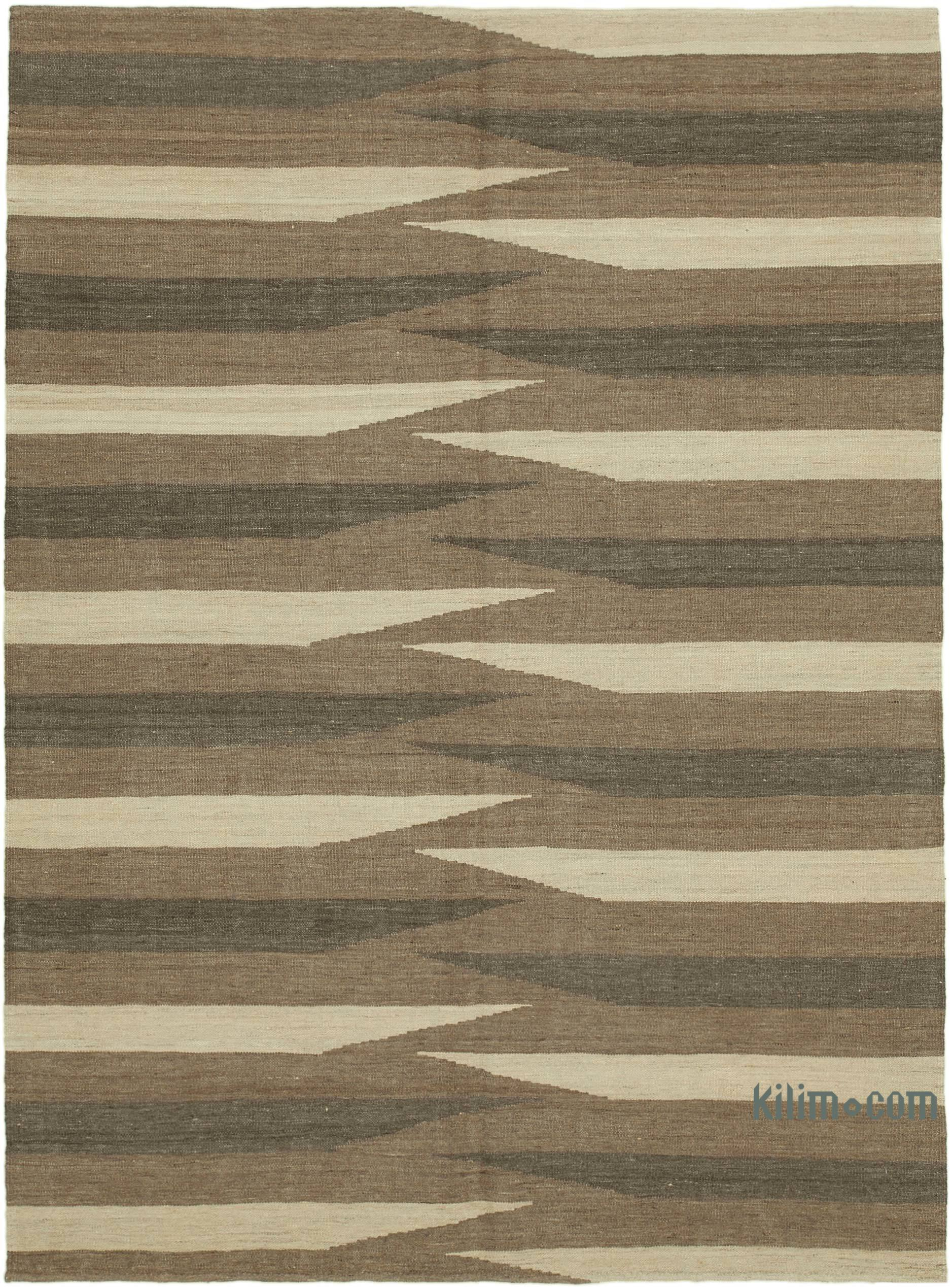 Brown Beige New Contemporary Kilim Rug Z Collection 5 9