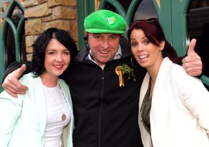 Helena O'Sullivan , John Anthony O'Sullivan and Aisling O'Donoghue enjoying the Paddy's Day Party that featured a live gig by The Kilkennys band in The Killarney Grand on Tuesday . Picture: Eamonn Keogh (macmonagle.com)