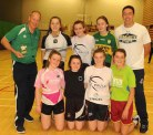 Pete Strickland (left) and Chris Harney with a group of young players from the St Paul's club at the clinic in Killarney