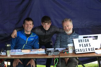 Mean while back at base: Don Murphy, his son Cillian and Gerry Christie in the control room