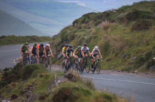 Cyclists making their way up the Conor Pass