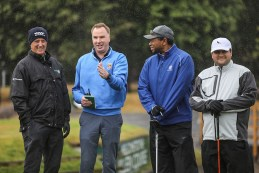 Cormac Flannery, General Manager, Killarney Golf and Fishing Club (second from left) gives a few pointers to Rory Matthews, Fáilte Ireland, (left) MIchael Williams, CBS Radio and Tim Gavrich, The Golf Channel