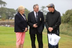 Sheila Crowley, Lady Captain, and Jack Buckley, President, Killarney Golf and Fishing Club, welcome, golf writer Matt Ward