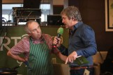Pádraig Ó Sé interviewing Seamus MacGearailt about his award-winning Micilín Muc range of sausages live on RTÉ Raidió na Gaeltachta