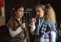 Déithír Ní Fhátharta and Neans Nic Dhonncha performing an award-winning sketch