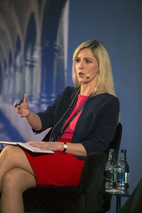 Fianna Fail spokesperson on Brexit Deputy Lisa Chambers addressing delegates
