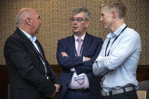 Ger O'Mahoney, PwC (left)discusses the Brexit situation with Patrick O'Donoghue CEO, Gleneagle Group and Ciaran Cronin, Gleneagle Hotel Group