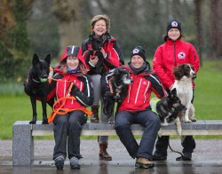 Louise Burgoyne with Layla, Jean Ryan with Traker, Pauliina Kauppila with Koiru and Sky and Dorothy Grimes with Piper, embers of the Search and Rescue Dog Association (SARDA) who gave a demonstration of their training as part of the Killarney Mountain Festival