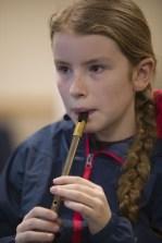 Éabha Ní Mhurchú taking part in the tin whistle workshop