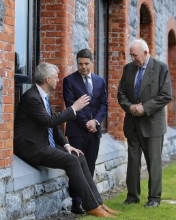 Fexco CEO Denis McCarthy makes a point to Minister for Finance, Public Expenditure and Reform, Paschal Donohoe, with Fexco founder Brian McCarthy