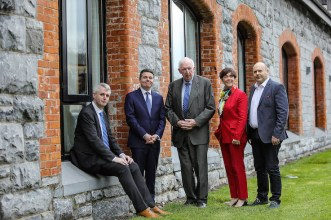 Minister Paschal Donohoe with Denis and Brian McCarthy, Fexco,Catherine Evans, RDI Colloborations Manager and Guillaume Py, Fexco
