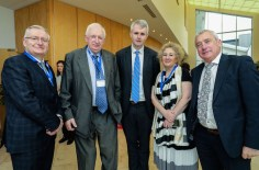 Minister Paschal Donohoe with Denis McCarthy and Brian McCarthy of Fexco, Dr Oliver Murphy, President, ITT, Brid McElligott, ITT and Ogie Moran, Regional Development Manager, Shannon Development
