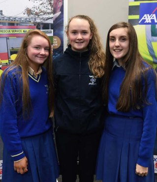 Katie O'Brien, Kate McCarthy and Caitlyn O'Connor from St Brigid's Secondary School, Killarney