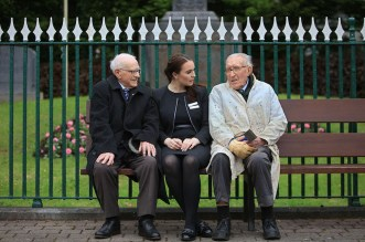 John (right) enjoying a chat with Natalia Makowksa, originally from Poland and now living and working in Killarney, and another great Killarney centenarian Michael O'Connor