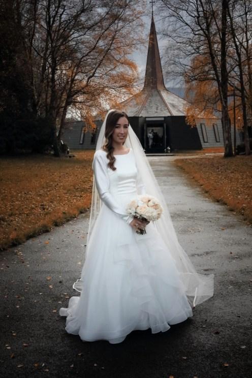 The beautiful bride at her parish church in Fossa