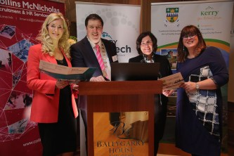 At the launch were, from left, Michelle Murphy, Director, Collins McNicholas Recruitment and HR Service Group, Cllr Niall Kelleher, Mayor of Kerry, Moira Murrell, Chief Executive, Kerry County Council and Bridget Fitzgerlad, Economic Development Officer, Kerry County Council