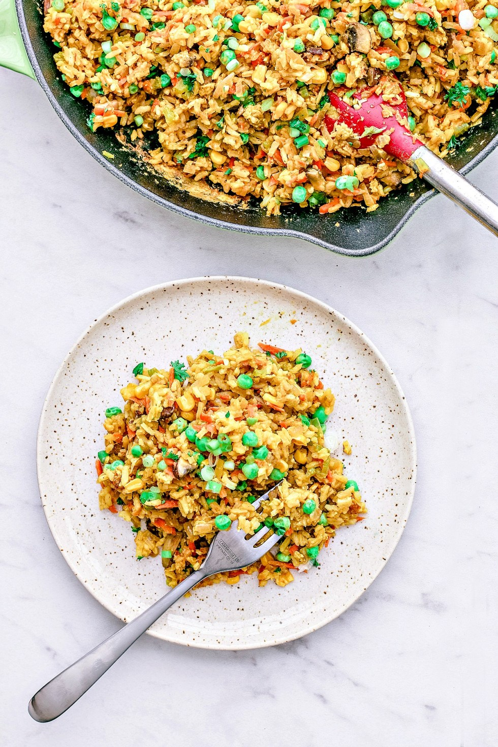 Easy Curry Fried Rice plated