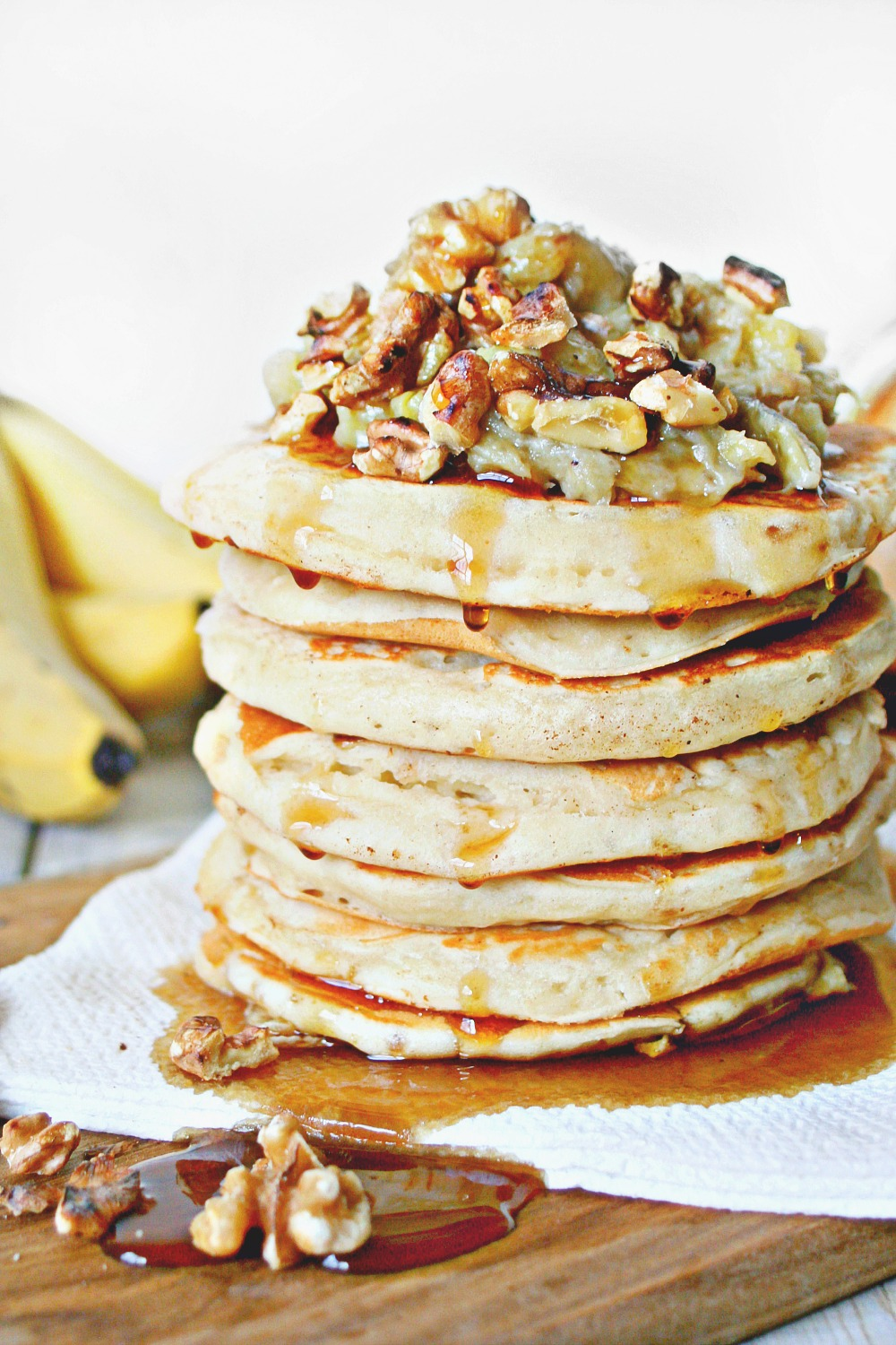 Pancakes with Banana Honey Compote and Toasted Walnuts 04