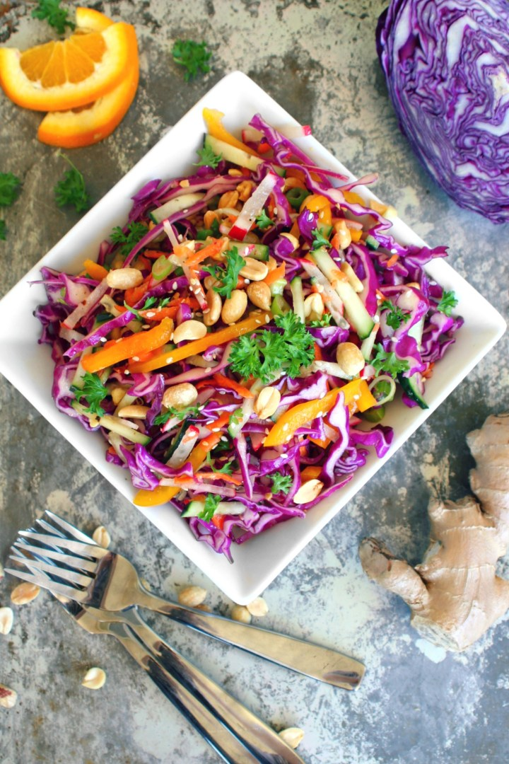 Orange and Ginger Cabbage Slaw with Roasted Peanuts