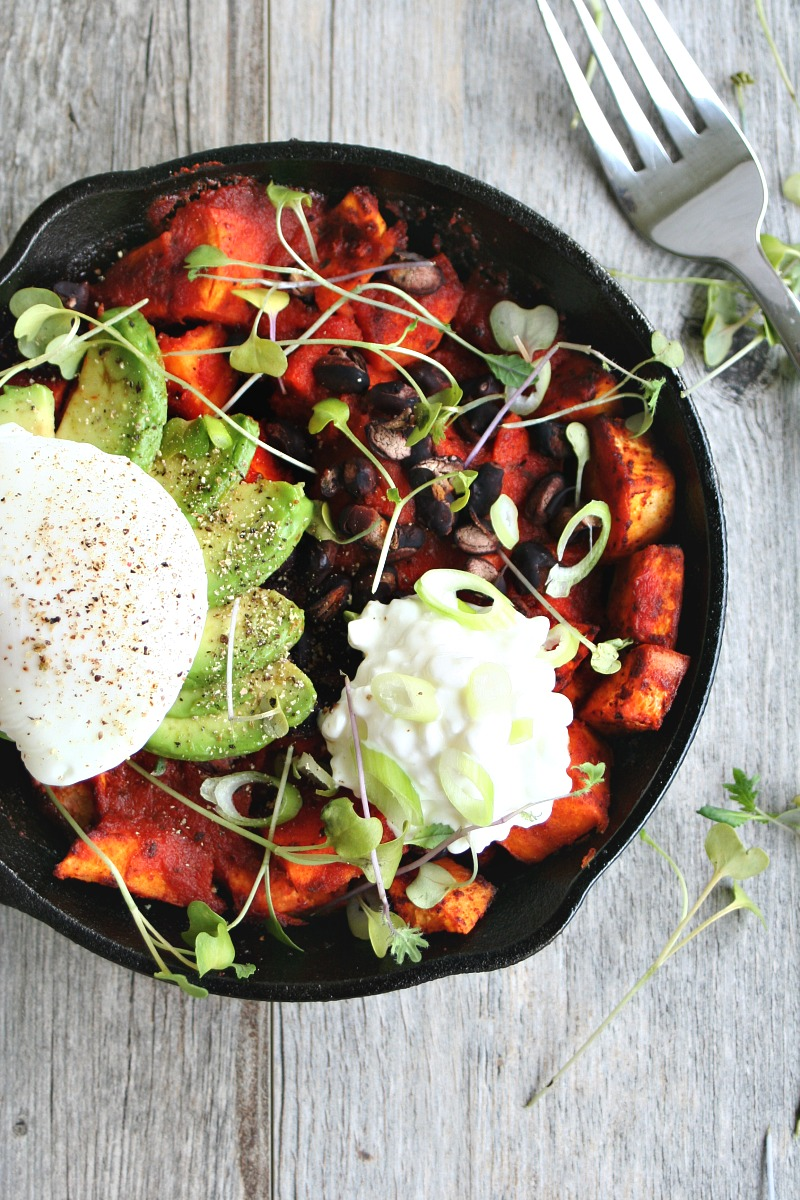 Sweet Potato Brunch Skillet with Poached Egg 4