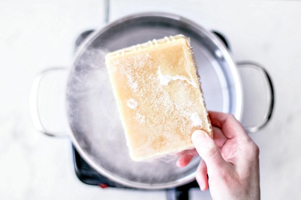 Brick of frozen tofu