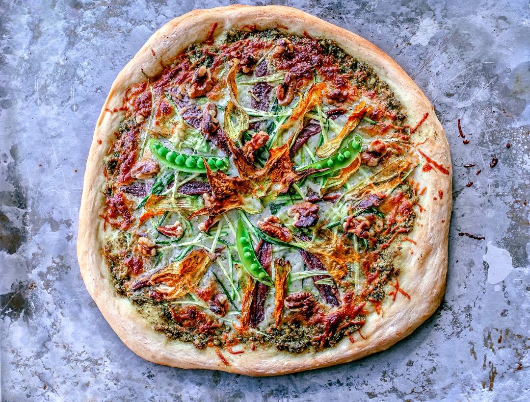 Summer Zucchini and Pesto Pizza With Squash Blossoms ...