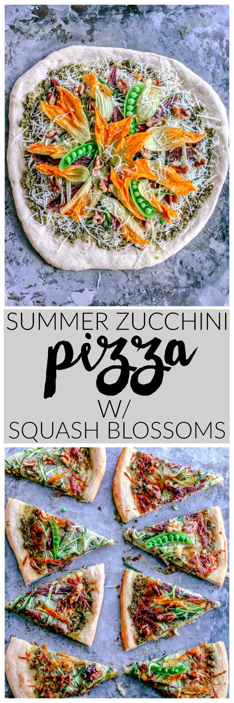 Seasonal Summer Zucchini + Pesto Pizza With Squash Blossoms | Killing Thyme