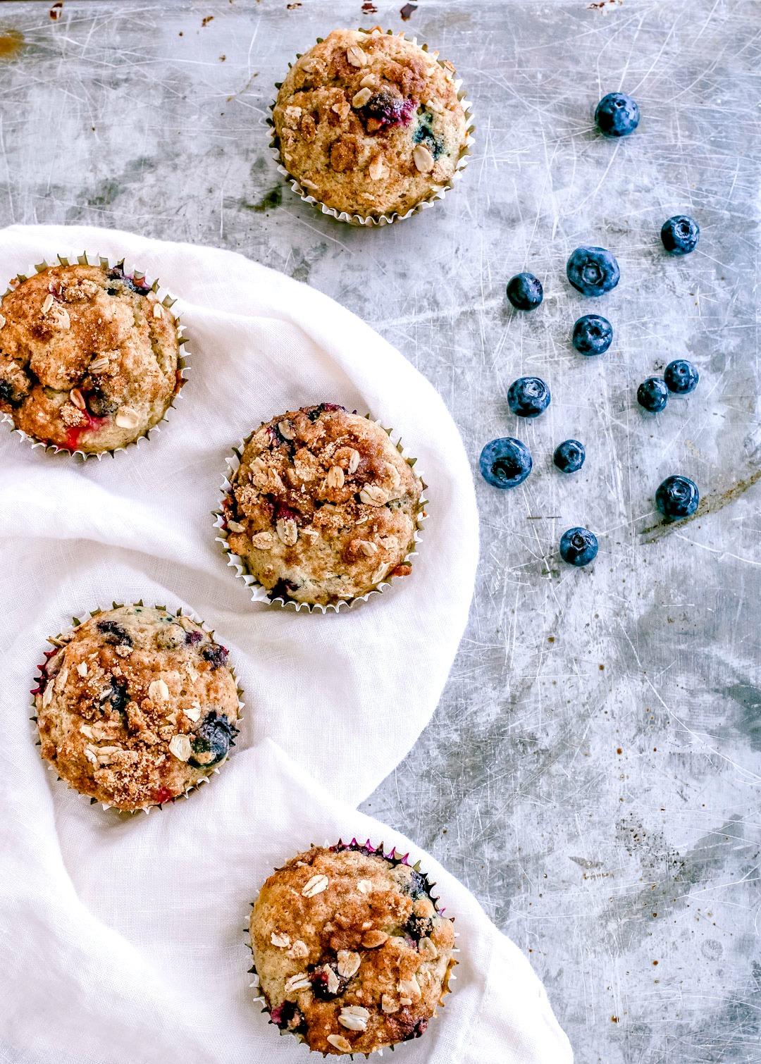Blueberry Banana Oat Crumb Muffins | Killing Thyme