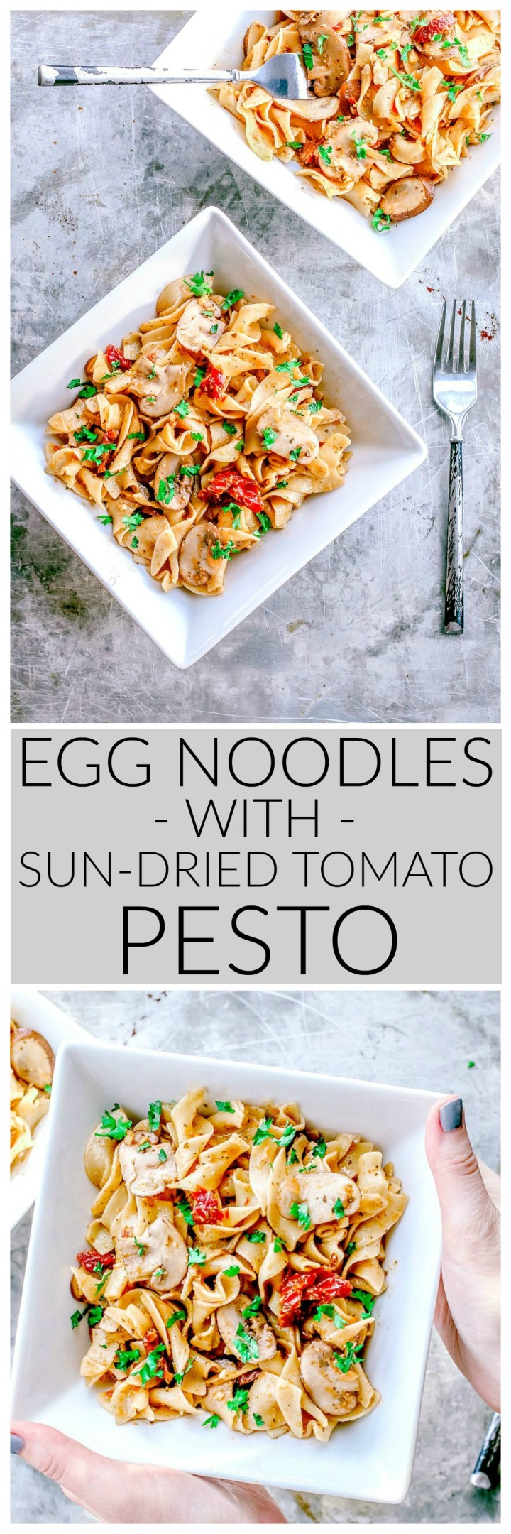 Egg Noodles With Sun-Dried Tomato Pesto and Mushrooms | Killing Thyme