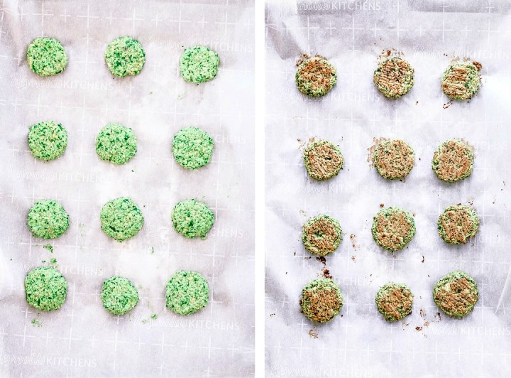 Crispy Baked Falafel With Spinach before and after being baked