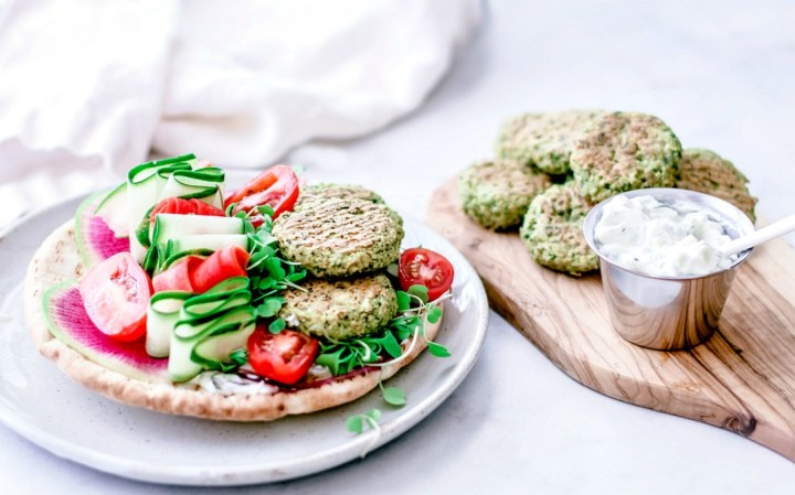 Crispy Baked Falafel With Spinach on a pita