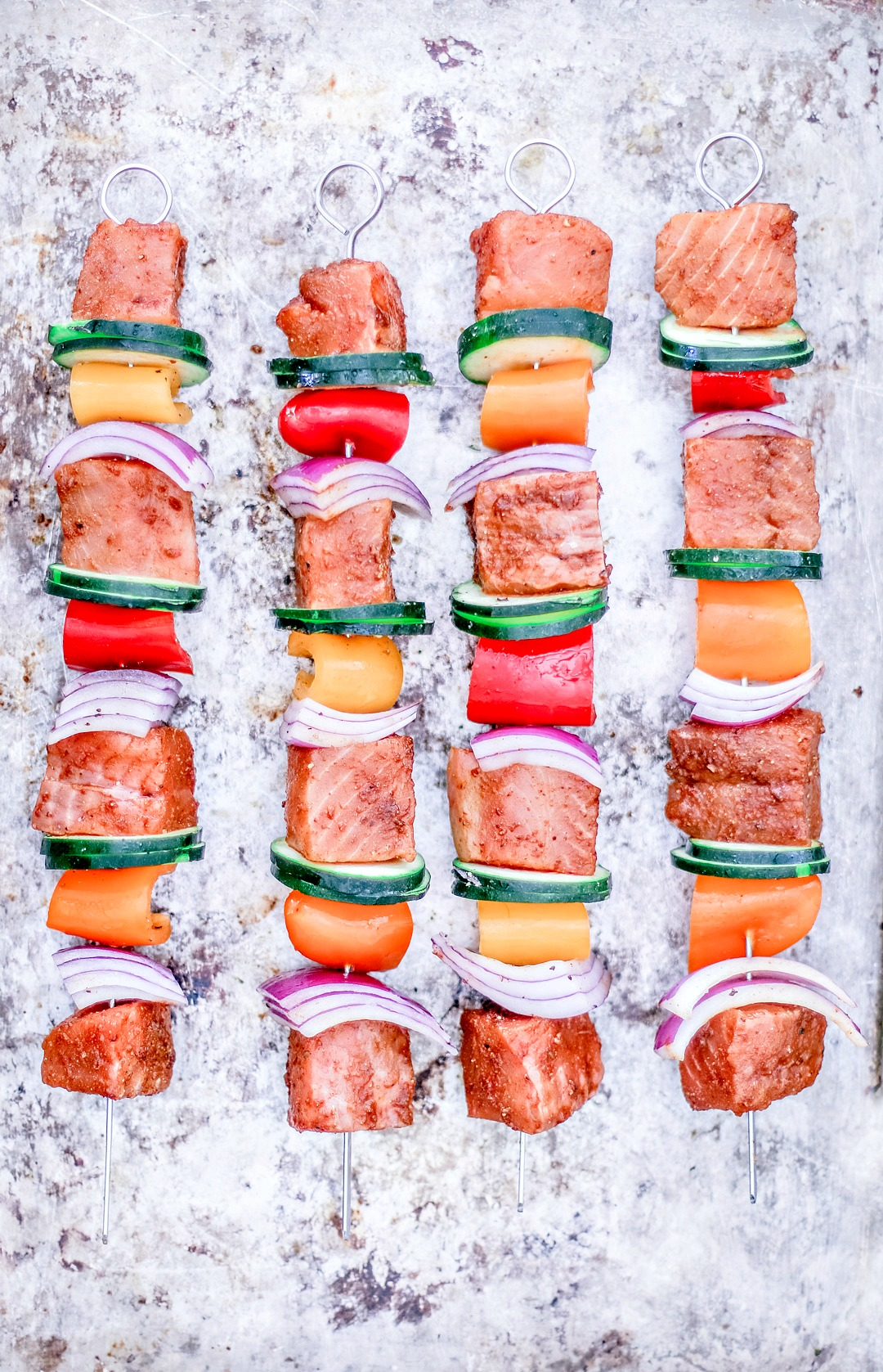 Easy Grilled Salmon Kebabs before being grilled