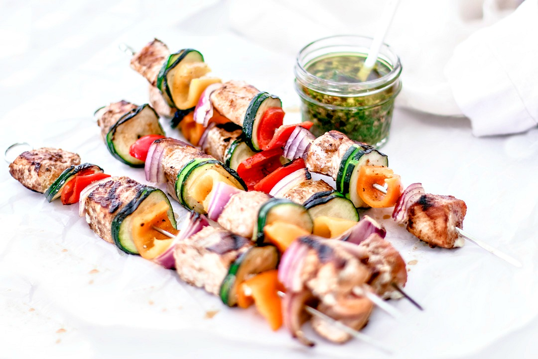 Easy Grilled Salmon Kebabs With Homemade Chimichurri Sauce