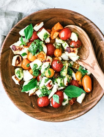 Grilled Halloumi Salad in a bowl.