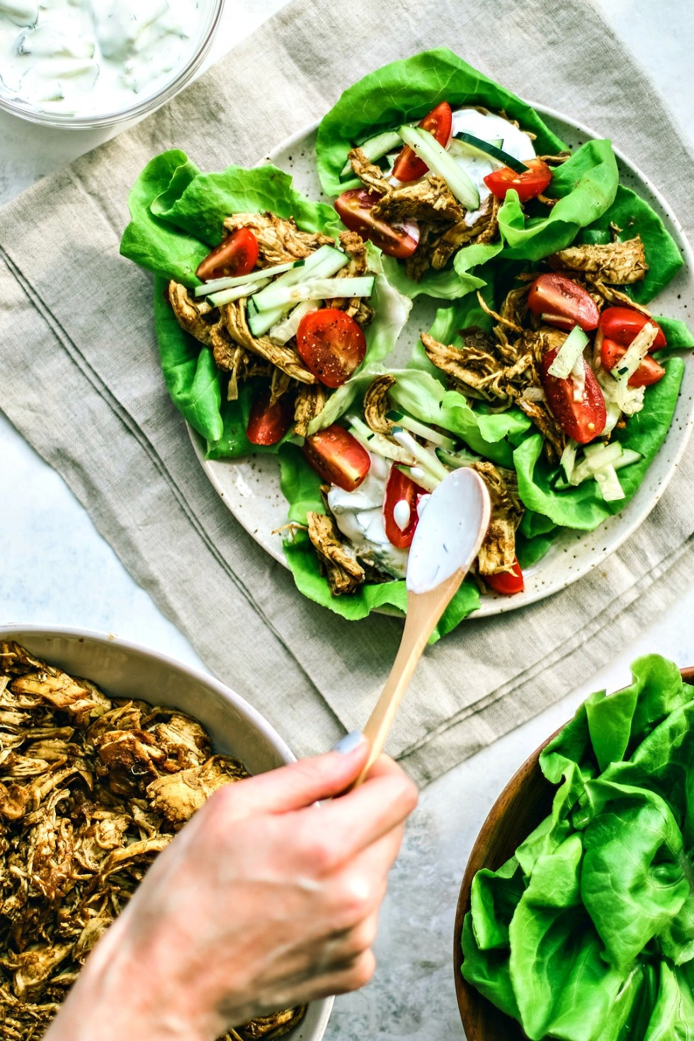 Instant Pot Chicken Shawarma Lettuce Cups and tzatziki